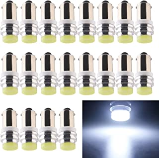 EverBright 20-Pack White BA9 BA9S 53 57 1895 64111 T4W Ceramic SMD 1W LED Replacement for Car License Plate Light Bulb Sid...