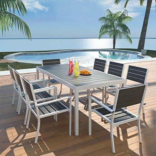 binzhoueushopping Gartenmöbel-Set für den Außenbereich, 9-teilig, Esszimmer-Set, Außenmaße Tisch: 185 x 90 x 74 cm (L x B x H) aus Aluminium, WPC, Höhe der Armlehnen, 63 cm, Schwarz