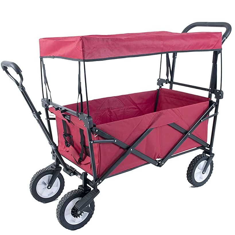 ZDYLM-Y Folding Camping Wagon with Removable Canopy, Large Capacity Utility Garden Cart for Shopping, Beach, Lawn, Sports