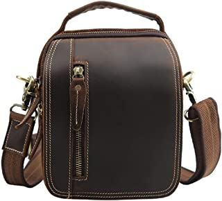 Vintage Leather Men's Shoulder Bag/Multi-Layer Outdoor Leisure Messenger Bag/Crazy Horse Leather Pocket Reasonable Layout Dynamic