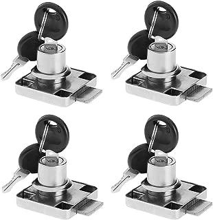BTMB 4 Pack Cylinder Cam Drawer Lock Desk Wardrobe Cabinet Locker Furniture Hardware Lock w 8 Keys (Keyed Alike)