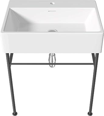 "Ceramic Console Sink Black Legs- Mocoloo 24"" Rectangular Bathroom Lavatory Sink with metal legs Wall Mount Single Bowl Glossy"