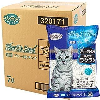 国産 ワンニャン 紙製ブルーDEサンド トイレに流せる猫砂 7L×7袋