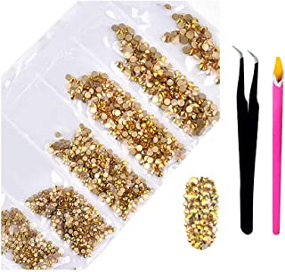 2800Pcs Gold Nail Art AB Crystal Rhinestones - Craft Supplies Flatback Glass Nail Jewelry Gems Stones with Wax Pen Tweezer...