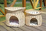 Vedem Handmade Two Tier Wicker Pet Cave Bed Condo Cat Nap Bed (L, Natural)
