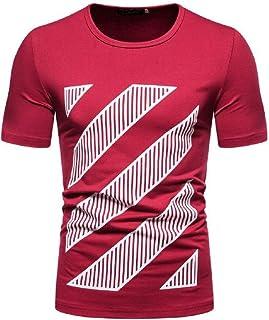 Macondoo Men Top Casual Printed Comfort Plus Size Crew Neck Summer T-Shirts