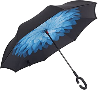 AWEOODS Inverted Umbrella Windproof Reverse Folding Double Layer Travel Umbrella with C Shape Handle, Blue Daisy