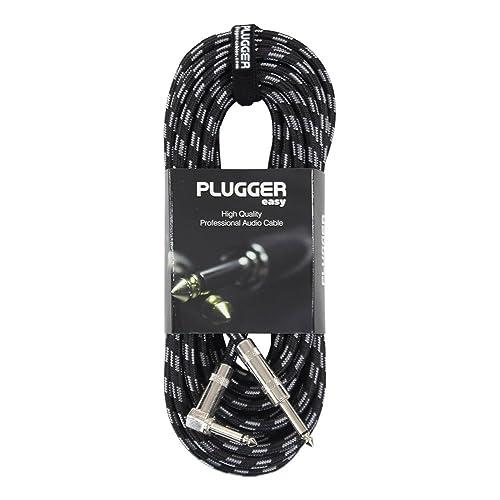 Plugger Câble Tweed Jack mâle mono/mâle Coudé 10 m Noir