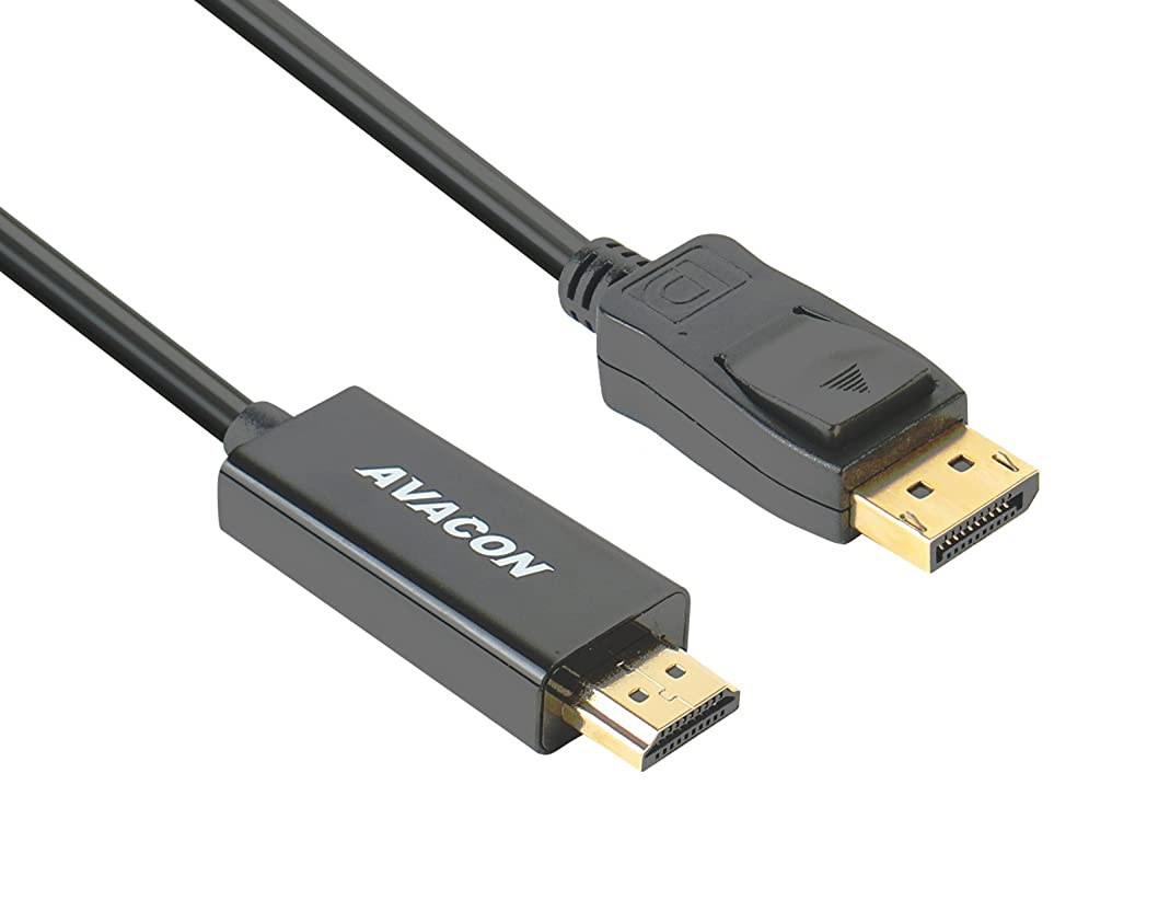 DisplayPort to HDMI 6 Feet Gold-Plated Cable, Avacon Display Port to HDMI Adapter Male to Male Black
