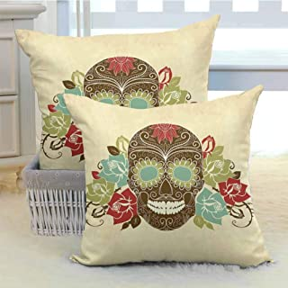 DuckBaby Sugar Skull Decor Customized Pillowcase Skull and Roses Colorful Vintage Composition Smiling Gothic Face Artistic Soft and Breathable W18 x L18 inch x 2 Multicolor