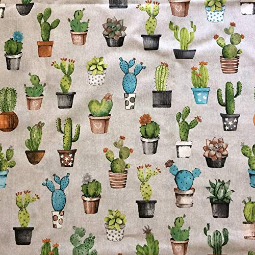 Pieza de tela estampada lona loneta algodón 124 x 118 cm cactus suculenta plantas