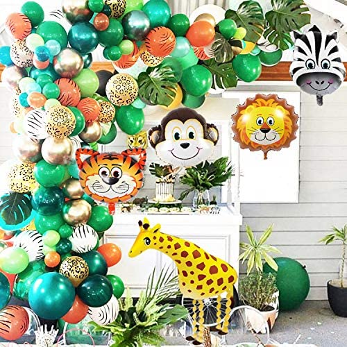Jungle Safari Theme Party Balloon Garland Kit 151 Pack With Animal Balloons and Palm Leaves product image
