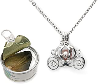Princess Carriage Cultured Pearl Oyster Necklace Set Silver-Tone Cage w/Stainless Steel Chain,18