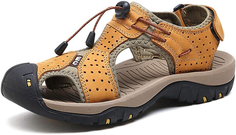 DOSNVG Sport Outdoor Sandalen für Herren Leder Sport Strand Schuhe Closed Toe Trail Walking Wandern Trekking Schuhe Herren Sandalen Leder Sommer Wanderschuhe Atmungsaktives Mesh