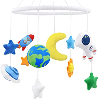 Space Nursery Mobile, Solar System Baby Crib Mobile Astronaut Plush Ceiling Hanging Spaceship Baby Shower Gifts Infant Lit...
