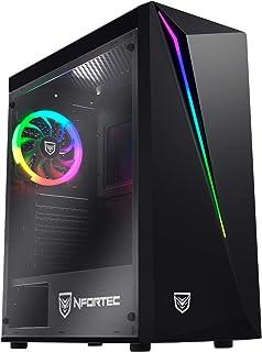 Nfortec Lynx - Torre Gaming Compatible con placas ATX, Mini-ATX e ITX y Ventilador RGB Incluido en la Parte Trasera, Negra...