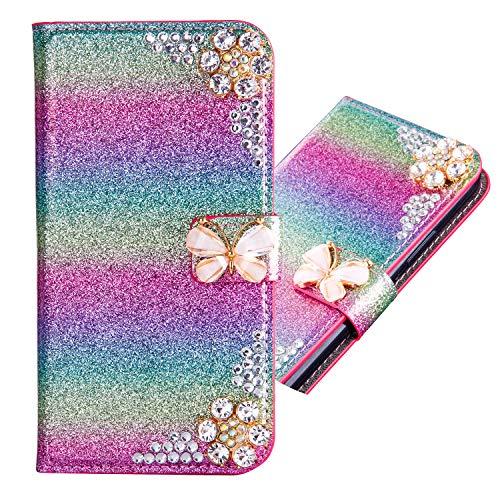 Pocket Funkeln Bling Glitzer Diamant Flip für Samsung S8,Ansehnliche Modisch BookStyle Slim Hülle Ledertasche Scratch Bumper Folio Wallet Stand Card Slots Leder Etui Case