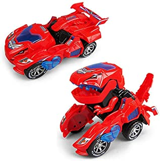 HEROPIE Dinosaur Transformer Toys 2 in 1 Transformer Electric Toys,Robot with Lights and Sounds,Car to Dragon Transformation Into Car for Electric Kids Toys (Red)