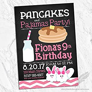 pancakes and pajamas christmas party invitations