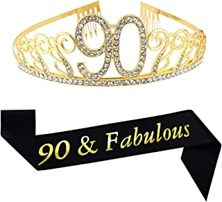 90th Brithday Gold Tiara and Sash, 90 & Fabulous Glitter Satin Sash and Crystal Rhinestone Birthday Crown for Happy 90th Birthday Party Supplies Favors Decorations 90th Birthday Cake Topper