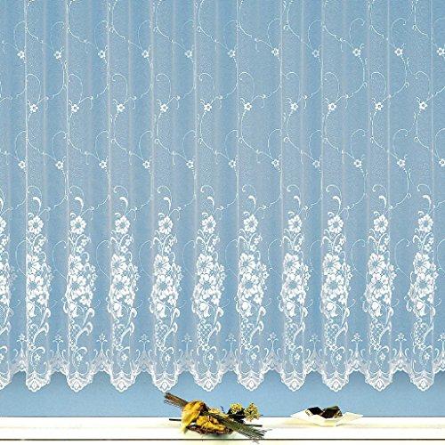 heimtexland Gardine edler Jacquard Store in Florentiner Optik Vorhang reinweiß mit Blumen Wunschmaß geprüfte hochwertige Qualität mit weichfliesendem Fall …auspacken, aufhängen, fertig! Typ261