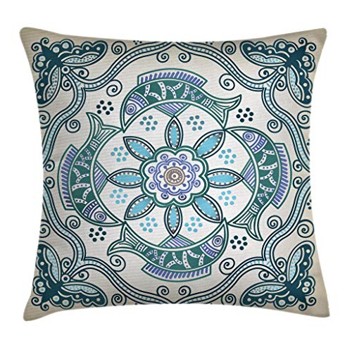 Blue Butterfly and Fish Vintage Decorative Cushion Case