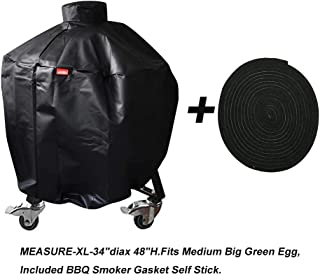 acoveritt Kamado Grill Full Cover XLarge Big Green Egg Big Joe Ceramic Grill,34 inch Dia Waterproof Outdoor Grill Cover Smoker Accessories Long Enough to Cover Wheel (XL-34)