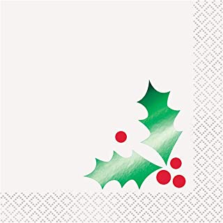 Foil Green Holly Christmas Cocktail Napkins, 16ct