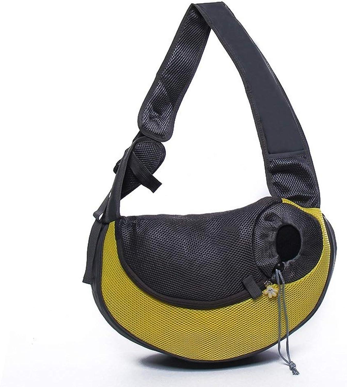 BigShiAUSPICIOUS Pet Supplies Multicolor Breathable Retractable Cat and Dog Pet Outdoor Handbag (color   Yellow, Size   30  10  20cm)