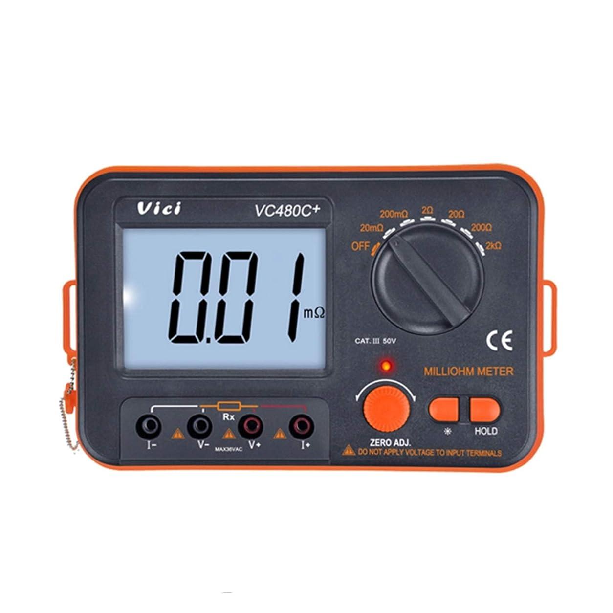 オール前兆作物マルチメータ デジタルミリオームメーター 3 1/2 LCDバックライト付き 4線式テスト 低抵抗マルチメーター 6レンジ 0.01mΩー2kΩ精度測定器 VC480C+ 抵抗、変圧器、モーターコイル、PCBのため