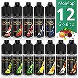 Manvap E-Liquide 10ml x 12 Goûts Pour Cigarette Electronique, E-jus VG/PG 70/30, Recharge de E Vaper, Sans Nicotine Ni Tabac No Nicotine