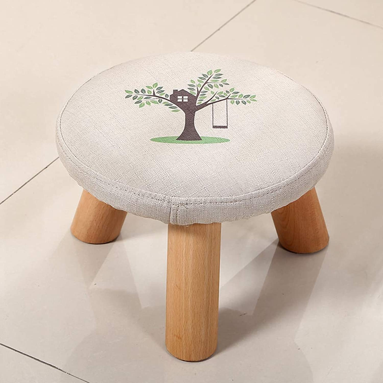 HLJ Personality Small Stool Simple Solid Wood Change shoes Stool Comfortable Fashion Small Bench