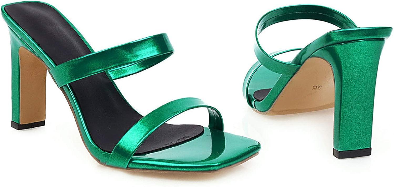 Women's Open Toe Slide Sandals Ladies Fashion Slip-on High Chunky Heels Square Toe Dress Simple Mules