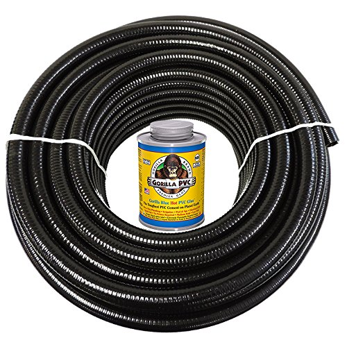 HYDROMAXX 25 Feet x 2 Inch Black Flexible PVC Pipe, Hose and Tubing for Koi Ponds, Irrigation and Water Gardens. Includes Free 4oz Can of Hot Blue Gorilla PVC Glue!