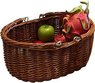 KIKTS Panier Pique-Nique en Osier Rotin, Panier De Rangement Osier, Paniers De Fleurs Aux Fruits Saule avec Poignée Tissée...