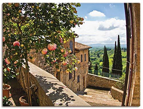 Artland Leinwandbild Wandbild Bild auf Leinwand 80x60 cm Wanddeko Fensterblick Toskana Landschaft Garten Rosen Balkon Natur T4QS