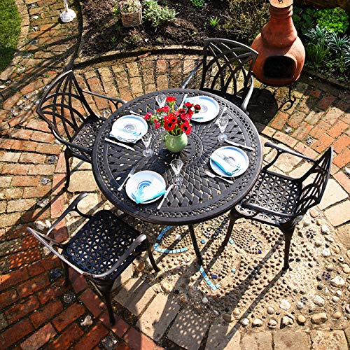 Lazy Susan ALICE 120cm 4 Seater Round Garden Table, Maintenance Free, Lightweight, Weatherproof, Sand Cast Aluminium, Antique Bronze Finish (4 x Emma chairs, No Cushions)