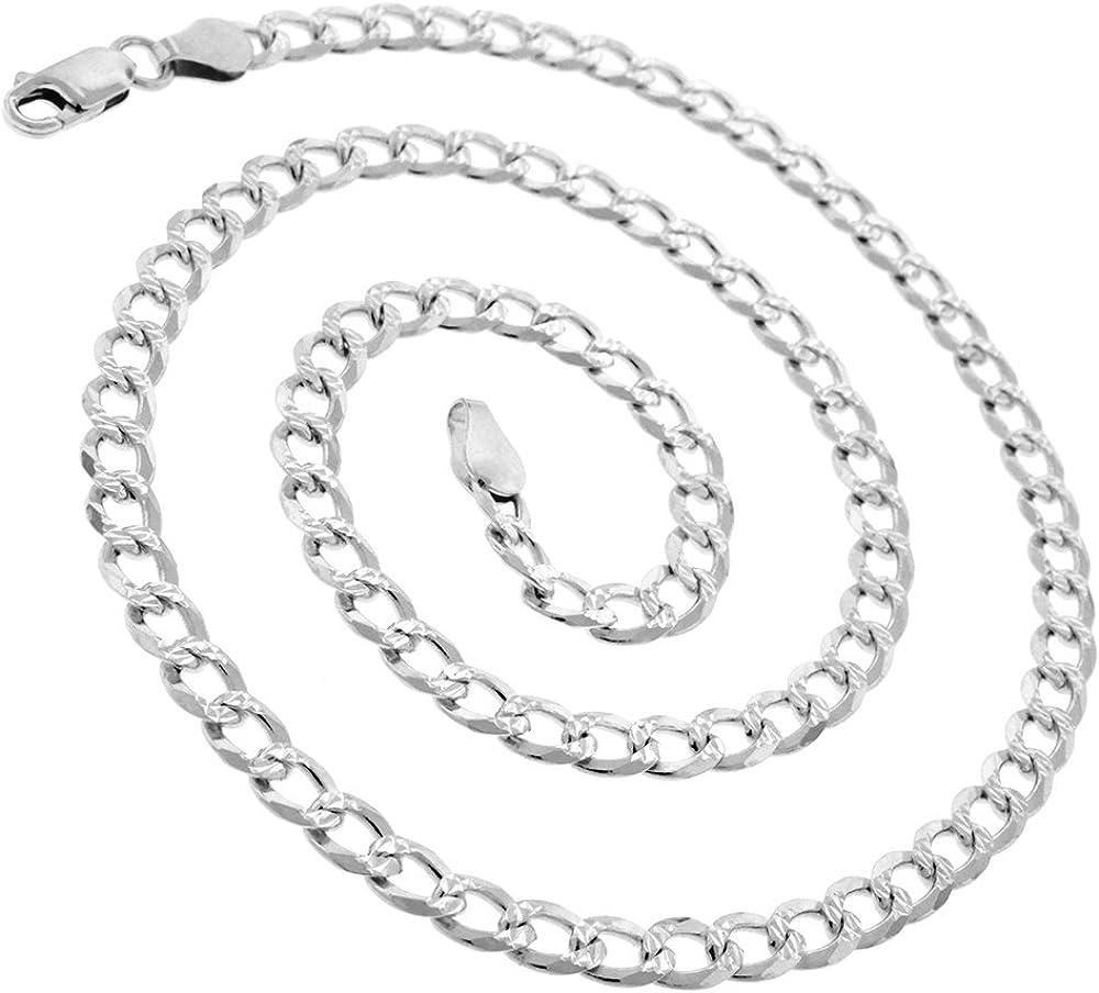 925 Albuquerque Mall Italian Sterling Silver 2.5mm - C trust Solid Cuban Diamond 10.5mm