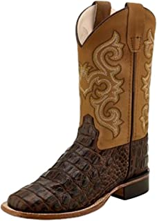 Old West Jama Corporation Boys Childs Brown Horn Back Gator Tan Canyon Cowboy Boots