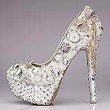SISHUINIANHUA Zapatos de Boda de Las Mujeres/Princesa y la Novia/Bowknot / Tacón de Estilete/Redonda Plataforma del Dedo del pie/Sandalias de tacón Alto/Zapatos de Cristal de Lujo, 12CM, CN39