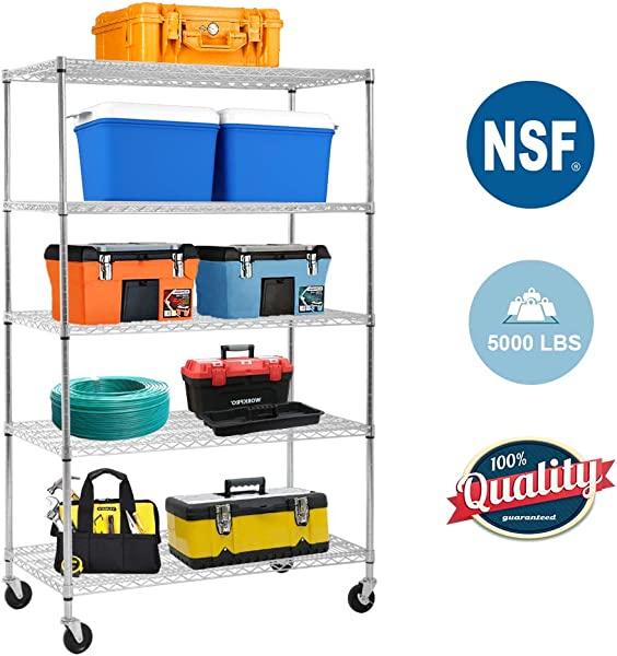 5 Wire Shelving Unit Steel Large Metal Shelf Organizer Garage Storage Shelves Heavy Duty NSF Certified Height Adjustable Commercial Grade Rack 5000 LBS Capacity On 4 Wheels 24D X 48W X 72H Zinc