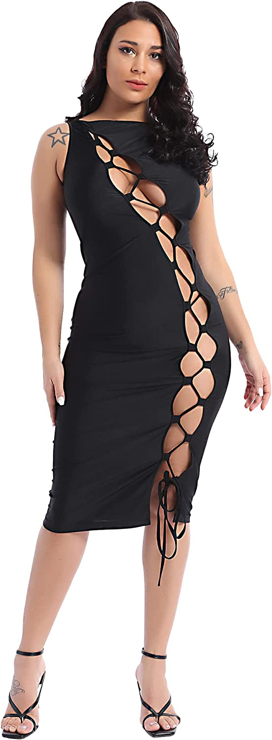 Moily Women's Sexy Sleeveless Hollow Out Bandage Lace Up Bodycon Party Club Midi Dress