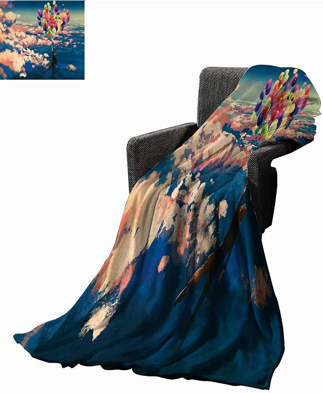 WinfreyDecor Adventure Weave Pattern Extra Long Blanket Man Flying with colorful Balloons in The Sky on Clouds Miracle Paint Print,Super Soft and Comfortable,Suitable for Sofas,Chairs,beds