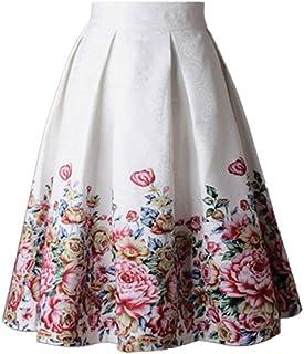 comprar comparacion Jumojufol Women 's Vintage Años 50 Hepburn Floral Print Una Linea De Falda Midi Cocktail