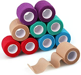 Self Adherent Cohesive Wrap Bandage, 2inch x 5 Yards, 10 Rolls, Breathable Self Adherent Wrap, Self Adhesive Bandage Wrap, Sports Tape, First Aid Tape, Medical Tape for Wrist, Ankle Sprains & Swelling