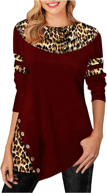 Women Fall Long Sleeve Top Fashion Leopard Patchwork Crewneck Sweatshirt Asymmetrical Hem Button Blouse Loose Fit Tee