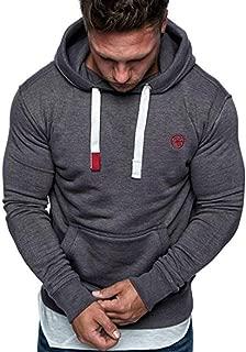 GREFER Men's Long Sleeve T-Shirts Cotton Patchwork Hoodie Hooded Sweatshirt Top Outwear Blouse