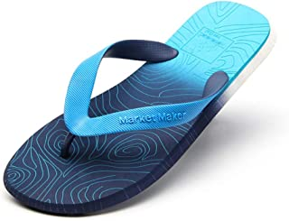 Men's Summer Flip Flops, Gradient Design Slippers Sandals Comfortable Non-Slip Toe Post Thongs Beach Shoes for Apartments, Hotels, Houses,Travel,Blue,42