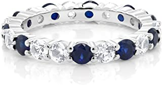 Gem Stone King Sterling Silver Blue and White Created Sapphire Women's Eternity Wedding Band Ring (2.20 cttw Round Cut Available 5,6,7,8,9)