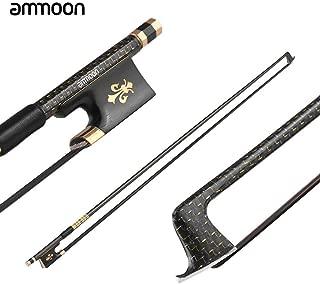 ammoon Violin Bow 4/4 Well Balanced Golden Braided Carbon Fiber Round Stick